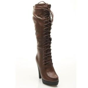 🆕Twisted Lyla Brown Leather Lace Up Heeled Boots